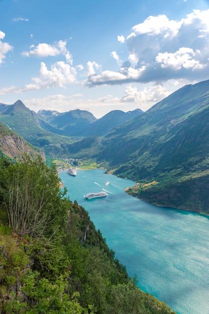 Foto aérea vertical para a vista do fiorde de geiranger, noruega Foto gratuita