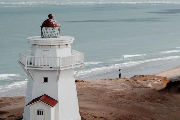 Foto de alto ângulo de um lindo farol na praia com vista para o oceano Foto gratuita