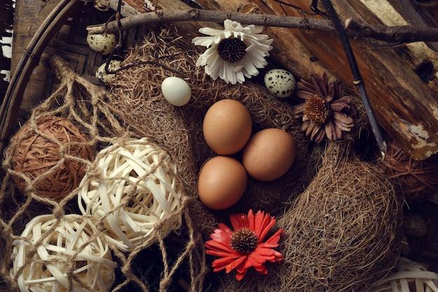 Foto de estúdio de ovos em um fundo preto de madeira Foto Premium