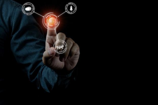 Foto do conceito seo de marketing digital com ideia criativa infográfico Foto Premium