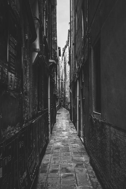 Foto preto e branco de um beco estreito Foto gratuita
