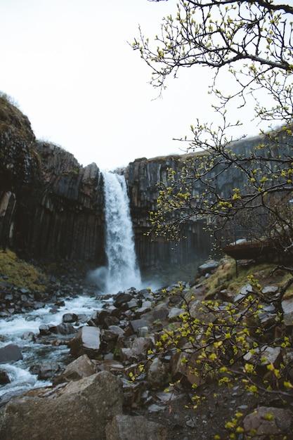 Foto vertical de baixo ângulo de uma bela cachoeira nos penhascos rochosos capturada na islândia Foto gratuita
