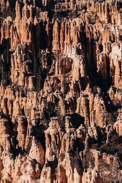 Foto vertical de rochas em um desfiladeiro sob a luz do sol Foto gratuita