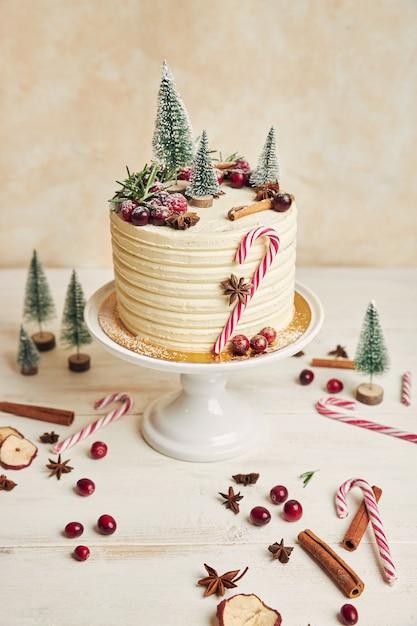 Foto vertical de um bolo de natal com frutas e canela e decorações de natal Foto gratuita