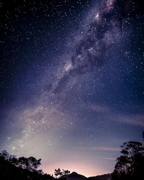 Foto vertical de um lindo céu estrelado Foto gratuita