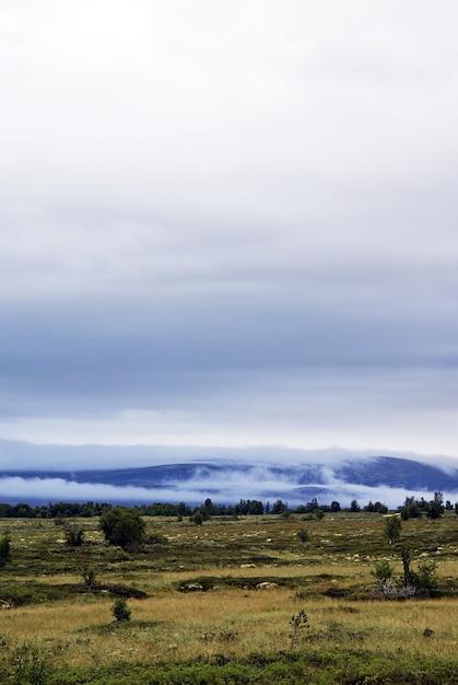 Foto vertical de uma bela paisagem cercada por altas montanhas na noruega Foto gratuita