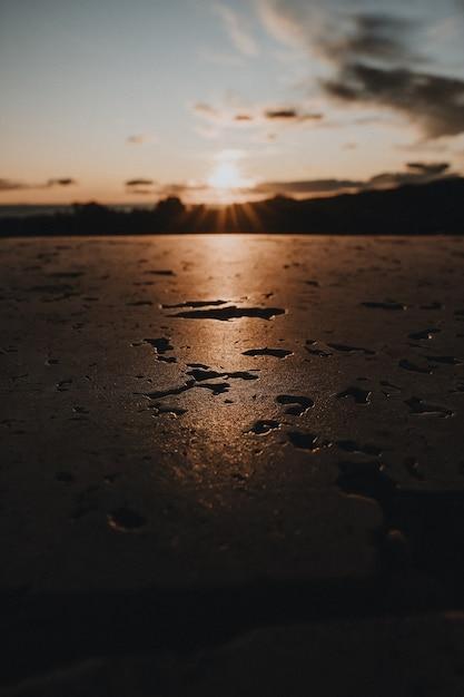 Foto vertical de uma superfície molhada refletindo a luz do sol Foto gratuita