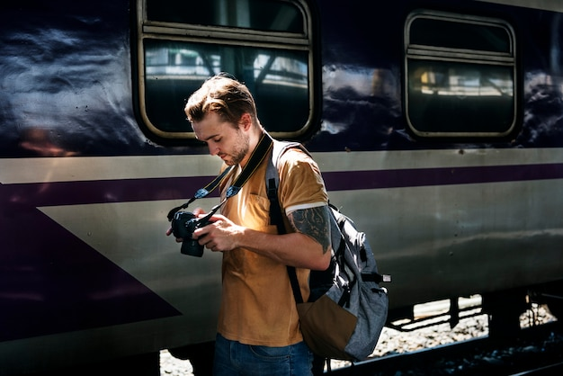 Fotógrafo camera dslr shooting journalist concept Foto Premium
