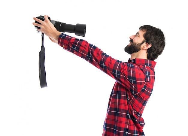Fotógrafo fazendo um selfie Foto gratuita