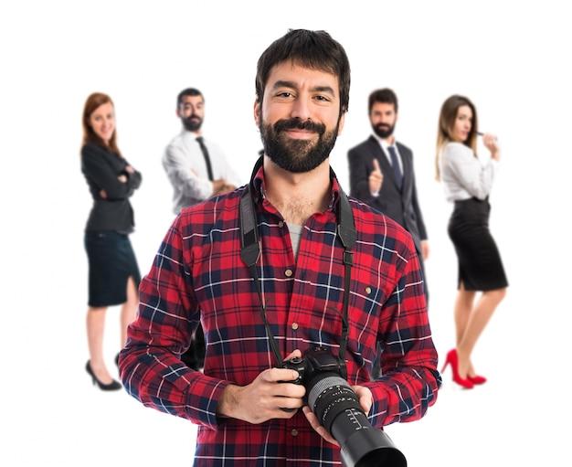 Fotógrafo sobre fundo branco Foto Premium