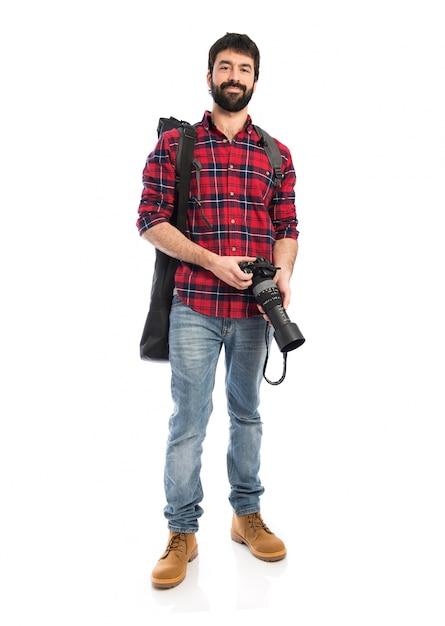 Fotógrafo sobre fundo branco Foto gratuita