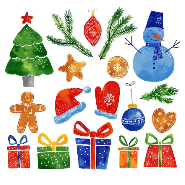 Fotos de natal em aquarela conjunto de nand desenhado. Foto Premium