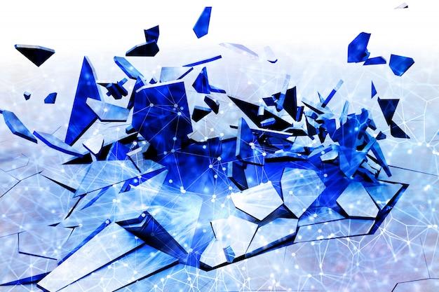 Fractal 3d rachado fundo com design baixo poli Foto gratuita