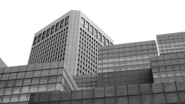 Fragmento refinado abstrato de construção de arquitetura do interior do escritório contemporâneo - edifício público, monocromático de construção Foto Premium