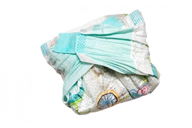 Fraldas sujas, isoladas no branco Foto Premium