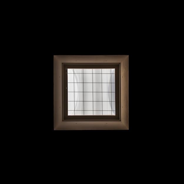 Frame de janela de madeira no fundo preto Foto gratuita