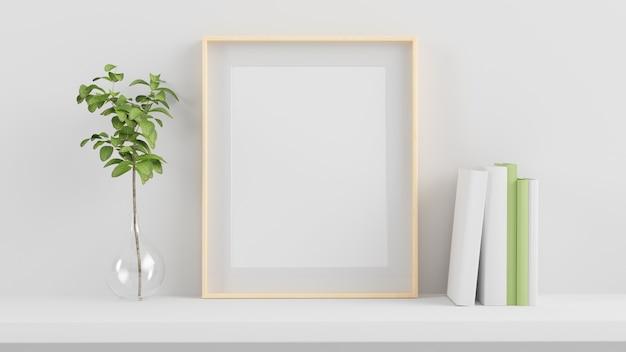 Frame mock up em uma prateleira renderização em 3d Foto Premium