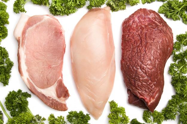 Frango, carne, porco Foto Premium