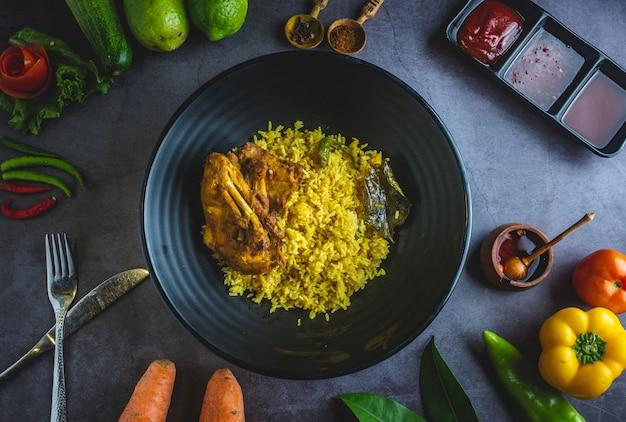 Frango com limão e arroz Foto Premium