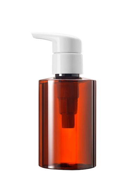 Frasco de medicamento ou cosmético de vidro marrom ou plástico com conta-gotas de bomba branca isolado no fundo branco Foto Premium