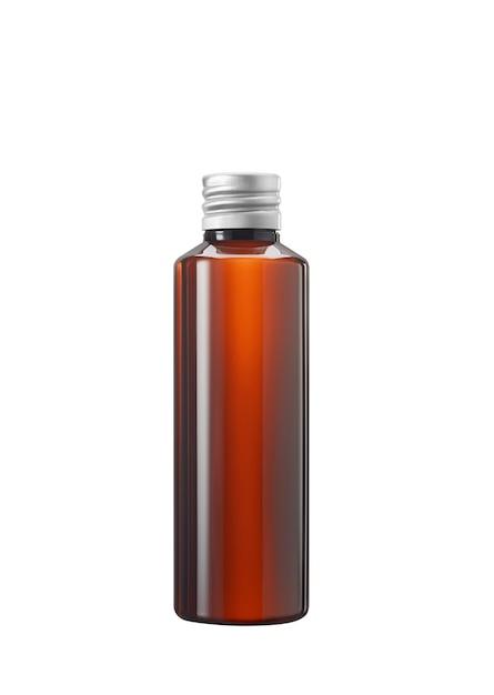 Frasco de medicamento ou cosmético de vidro marrom ou plástico com tampa branca isolado no fundo branco Foto Premium