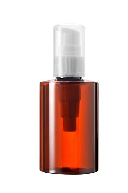 Frasco de remédio ou cosmético de vidro marrom ou plástico com conta-gotas branco e tampa transparente isolado no fundo branco Foto Premium