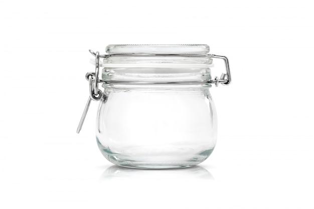 Frasco de vidro transparente para utensílios de cozinha isolado Foto Premium