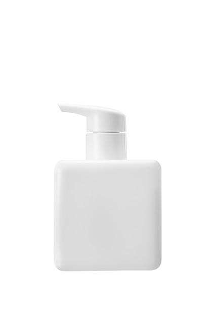 Frasco quadrado de plástico branco com conta-gotas, usado para sabonete líquido, xampu e loção isolado no fundo branco Foto Premium