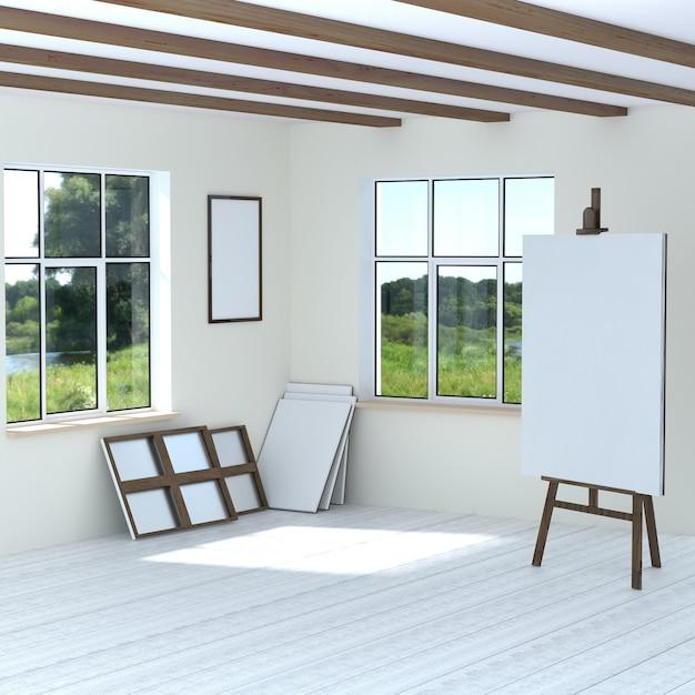 Free artist workshop cavalete quadros vazios de lona em branco. a sala iluminada com duas janelas Foto Premium