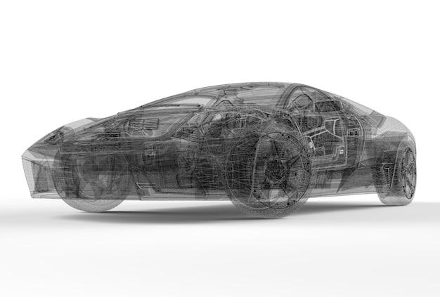 Frente, wireframe, car Foto Premium