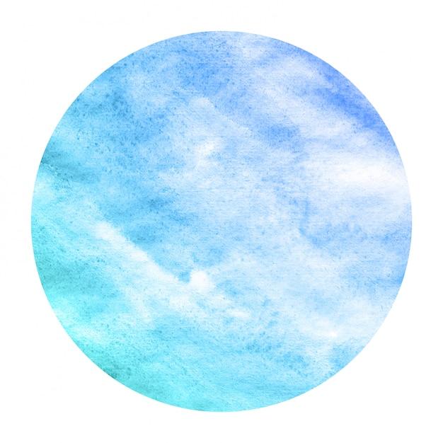 Fria mão azul desenhada textura de fundo quadro aquarela circular com manchas Foto Premium