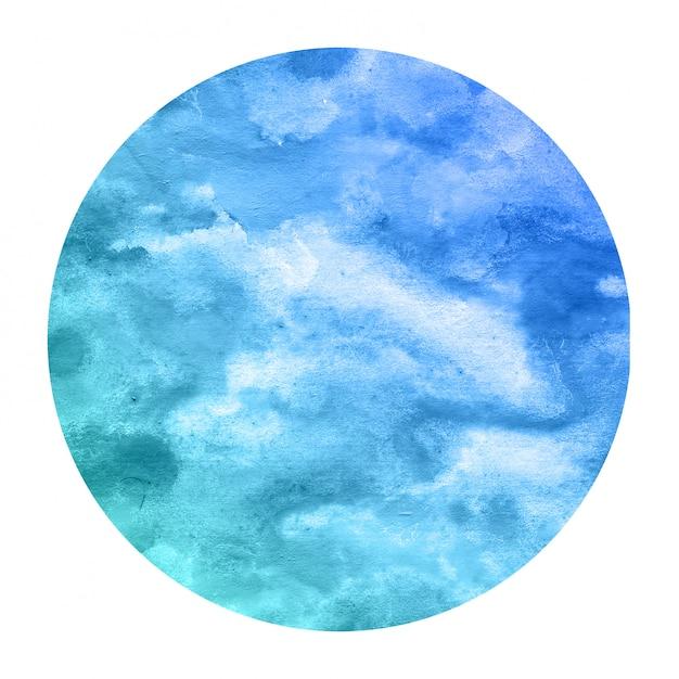 Fria mão azul desenhada textura de quadro circular aquarela com manchas Foto Premium