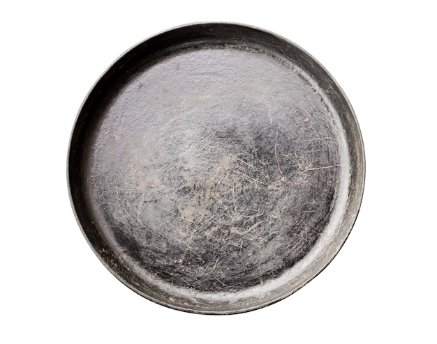Frigideira de ferro fundido preto velha isolada no branco Foto Premium