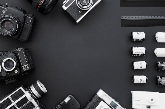 Fronteira de câmeras de filme e vintage Foto gratuita