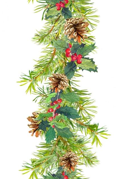 Fronteira de natal - galhos de árvore do abeto com cones e visco. tira de aquarela Foto Premium
