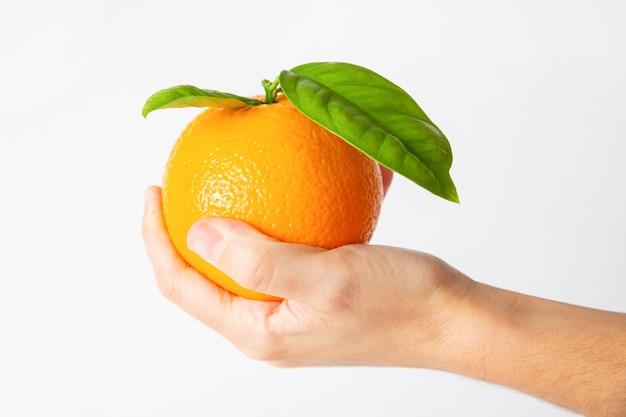 Fruta laranja na palma da mão com folhas Foto gratuita