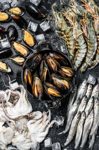 Frutos do mar crus, camarões tigre, camarões, mexilhões azuis, polvos, sardinhas, cheiros Foto Premium
