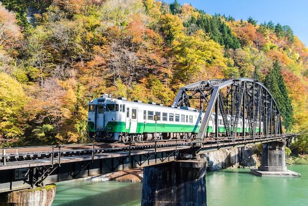Fukushima black bridge rio tadami japão Foto Premium