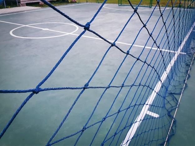 Full frame blue net em torno do campo de futsal Foto Premium