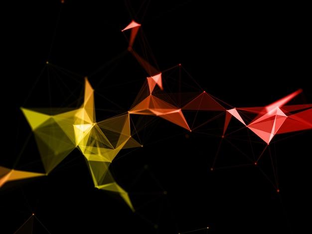 Fundo 3d moderno baixo poli plexo com tons de laranja e amarelos Foto gratuita