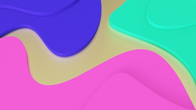 Fundo abstratas ondas geométricas de cores da moda. degraus verdes, rosa e azuis. realidade psicodélica e mundos paralelos Foto Premium