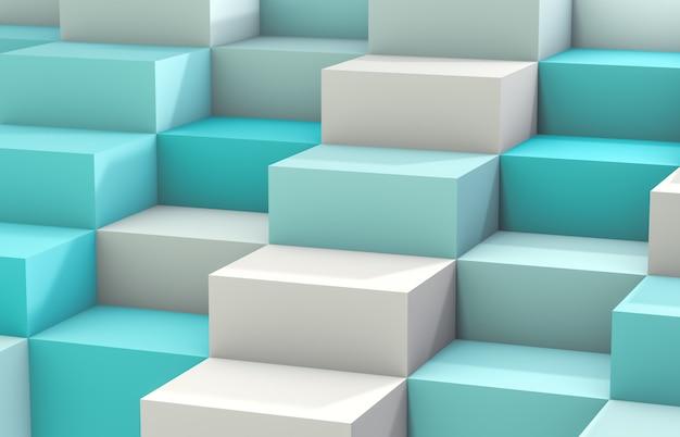 Fundo abstrato com a caixa branca do cubo 3d. 3d rendem. fundo branco e azul. Foto Premium