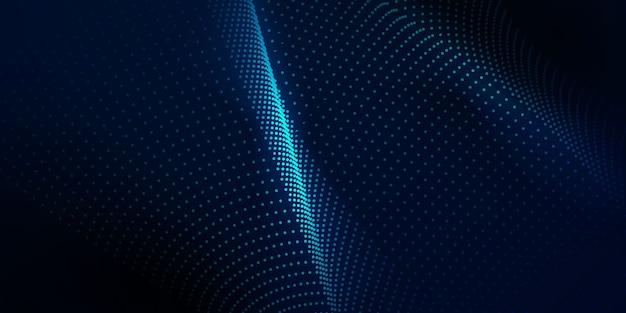 Fundo abstrato com pontos dinâmicos. tecnologia particle mist network cyber Foto Premium