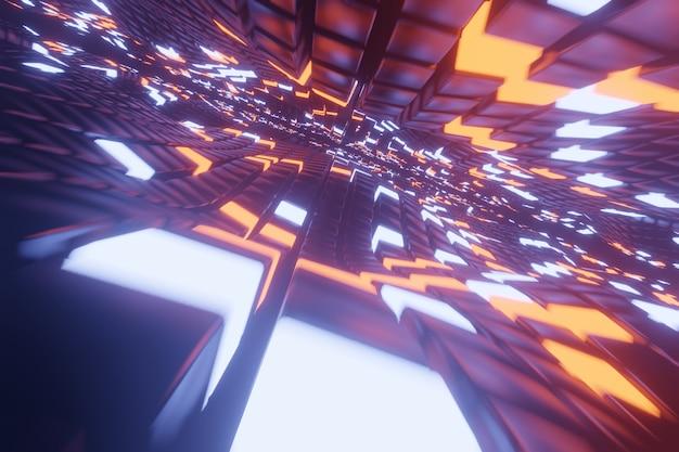 Fundo abstrato do espaço 3d com uma perspectiva de cubos do metal e de elementos brilhantes da luz. caminho para o infinito. Foto Premium