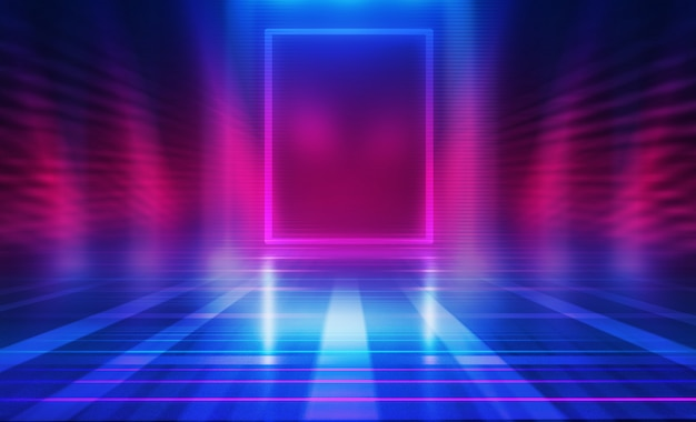 Fundo abstrato escuro vazio. fundo da cena vazia. brilho de luzes de neon e figuras de neon em um palco vazio de concerto. reflexo da luz na calçada. Foto Premium