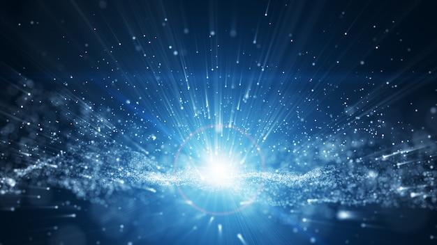 Fundo azul, assinatura digital com partículas de onda Foto Premium