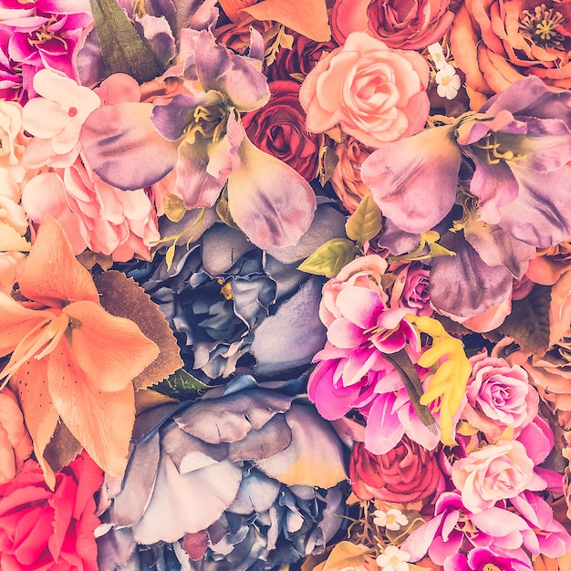 Fundo bonito com flores diferentes Foto gratuita