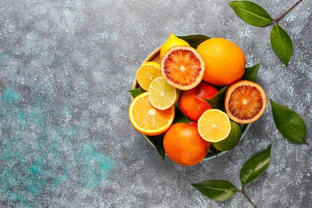 Fundo cítrico com frutas cítricas frescas sortidas Foto gratuita