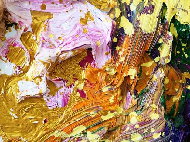 Fundo colorido da pintura de óleo do ouro e textured. Foto Premium