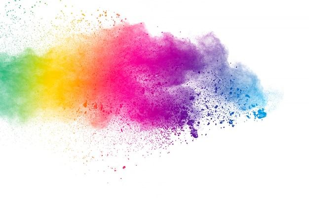 Fundo colorido de pó pastel. respingo de pó de cor Foto Premium